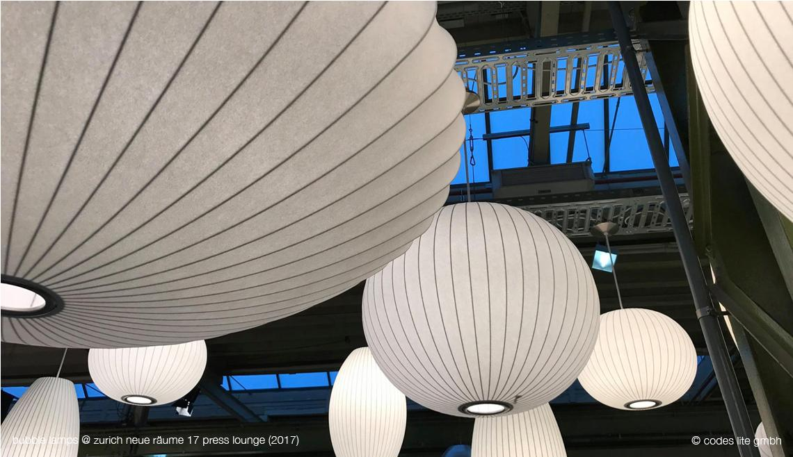 Codes Lite - George Nelson Bubble Lamps at Neue Raeume 2017 Zuerich - Original Saucer Ball Cigar Large by Herman Miller - bubblelamp.ch - bubblelamp.com