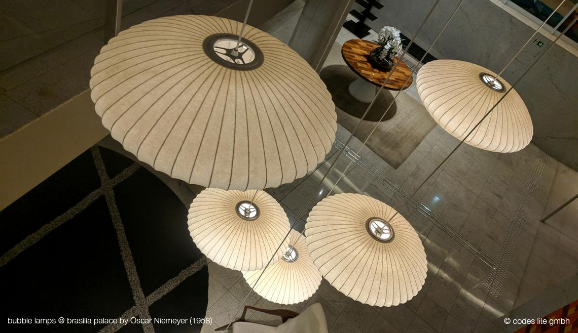 Codes Lite - George Nelson Bubble Lamps at Niemeyer Hotel Brasilia - Original Saucer Large by Herman Miller - bubblelamp.ch - bubblelamp.com